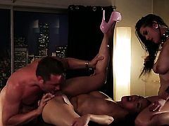 Vicki Chase with massive knockers is curious about hard bum hole fucking