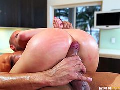Perfectly figured babe, with tattoos on her body, got fucked by her step bro in the kitchen. She swallowed his big dick and took it deep into her throat, without any hesitation. The big guy licked her pussy and then pounded her really hard.