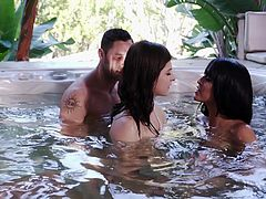 Watch as these two guys double dates with their ladies by the jacuzzi, only to have their women kissing on each other. These two brunettes have crazy girl on girl fun and asks their bf's to join in the adventure, and experience the fun.