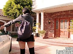 Join the New Girl, Lexi at the American Naughty College! Guide her in between the rooms to meet her classmates for the summer. Let's check out the stairway - a horny blonde might suck a professor's cock there.
