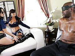 Lisa Ann loves the way love wand makes its way deep inside her fuck hole in interracial sex action