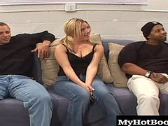 Jewel is new to the scene and gets all chatty giggly before getting down to business. Soon her inner slut shines and shes got a cock nuts deep in her throat with all her holes plugged airtight in this interracial threesome