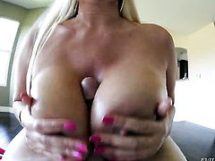 Karen Fisher takes dudes cum loaded ram rod in her hot mouth