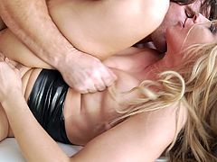 Anikka Albrite was masturbating, when this guy came. She asked him to fuck her hard. He immediately inserted his big cock in pussy. She was screaming loud, but asked him to continue. He lifted her leg and inserted cock in her ass hole. She was still unsatisfied and get on top of him, for deeper penetration.