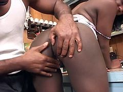 Nina's pussy and asshole are receiving some enthusiastic attention from Sylvio's tongue. Part of the reason is without a doubt, the juiciness of her ass. So wonderful you just want to squeeze and bite it.