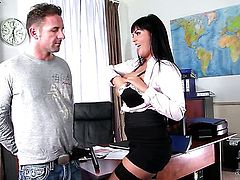 Jasmine Black with huge knockers and clean snatch keeps her mouth wide open while taking face cumshot
