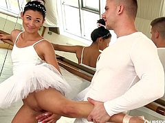 Adorable ballerina lifts her tutu and takes a dick in her pussy