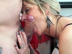 blonde mature woman is hungry for cock