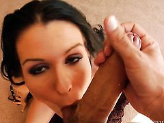 Brunette gives unthinkable oral pleasure to horny fuck buddy by blowing his tool
