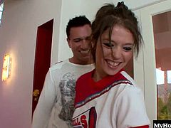 Tiffany Dgore was so excited to make the cheerleading team, and when she found out what the varsity girls do before a big game, it made her pussy so hungry. This older man always slides his big cock into willing holes of horny college girls that have just made the cut onto the team of their dreams, and couldnt be more excited. Taking a big dick up her pussy is just another victory, as is the facial she takes all over her mouth.