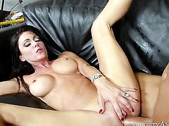 Brunette exotic Chad White satisfies dudes sexual needs and then gets covered in love juice