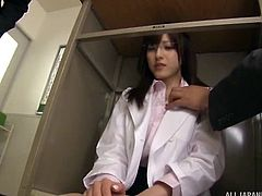 Japanese teacher Iioka Kanako's barely covered ass in mini-skirts, causes utmost discomfort to the male students in classroom. Two mischievous students wanted to teach her a lesson and decided to fuck her in the classroom. Even though she opposed initially, she enjoyed the horny threesome.