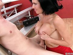 Milf Jessy Jones with massive boobs finds herself getting humped by horny guy over and over again