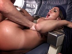 Sexy stewardess with a juicy pussy fucked on the plane