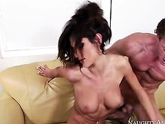 Brunette with tiny butt and shaved beaver has fire in her eyes as she milks cum loaded cock of her man