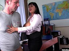 Jasmine Black is always wanting a dick in her pussy, so she finally gave in to her lust for Jimmy, the janitor boy who works on the lower level. During her lunch break she calls him up to clean up a mess in her office, but what she really has in store is her hungry vagina. Hes so excited to fuck an older woman, and when hes ready to cum, her breasts become the target, filing her with joy.