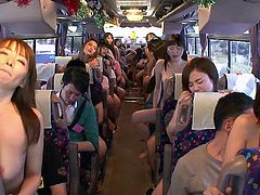 Japanese party bus orgy with girls fucking strangers