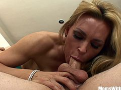 Blonde sexy mom Tanya Tate just saw her best friend's son relaxing at the pool. As horny as she is, she took the oppurtunity to suck and stick that dick inside her wet milf pussy.