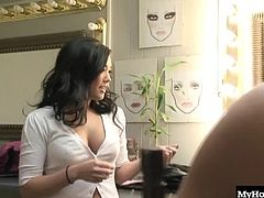 In this hardcore, behind the scenes bonus movie, youll meet some of the sexy ladies up close, as they talk about their likes and dislikes, along with letting you see their hot bodies like the Asian, London Keys, whos playing with her hair and that cute petite Amai Liu, who will show you her little titties with big nipples. Youll also see a handjob and facial.