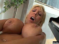Big boobed MILF, Misty Vonage, prepares herself by stuffing her shaved pussy full of dildo, though theres nothing like the real thing as she discovers when Shane Diesel lays his giant pipe in her, in this hot interracial sex scene from Digital Sins Too Big For Your Mouth.