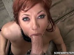 Step Mom Gags On His Fat Cock
