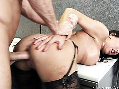 Brunette Lezley Zen with juicy breasts satisfies mans sexual needs and desires and then gets painted with cum