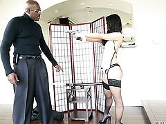 Asian Lexington Steele is on the way to the height of pleasure with her mans pole in her mouth
