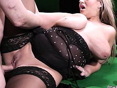 Blonde bbw in nylons gets slammed on pool table