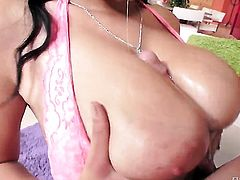Brunette shows her slutty side to horny dude by taking his rock solid ram rod in her mouth