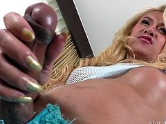 This dirty girl has a huge penis, that is always rock hard. It looks so suckable. The naughty tranny wraps her hands around her huge dong and stokes off just for you. Do you want to see this slut cum bucketloads?