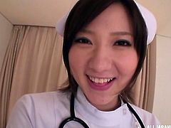 The cute nurse with big assets is what everyone desires to fuck with. Beautiful Japanese girl sucked her patient's meat, to release his stress. Then the guy pounded her hardcore and she was crying and enjoying!