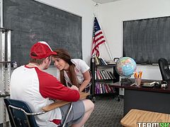 Joseline Kelly was keen on her classmate. So one day, when the teacher left them alone in the classroom, Joseline unbuttoned her shirt and showed her cleavage. She slipped down his pants and took his big cock in her mouth. Then she got on knees and asked the guy to drill her pussy brutally...