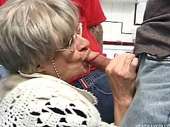 First I must say, that this whole situation was provoked by Kathy herself. The old lady had invited a team of workers, to clean her house. When they were ready and demanded money, she refused to pay. For a very long time she didn't see the real dick and she had long dreamed to feel its taste in her mouth...