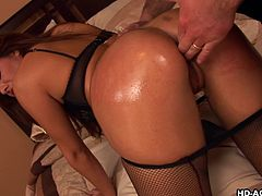 He can't believe his eyes, she knew he was married and yet, she still come over to his house in sexy lingerie and fishnet stockings. What could he do, except fulfilling her sexual desires and spanking her hard, before penetrating her wet warm vagina.