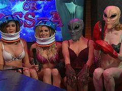 In today's issue the models will talk about other planets and galaxies, their inhabitants, and life. They will try to suppose, is there sex on Mars and what the extraterrestrials prefer in sex. Most of them are concerned with the question, of how long can be the dick of the extraterrestrial. Have fun and enjoy the inciting details!