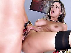 Milf Nadia Styles with juicy jugs is on the way to the height of pleasure with her mans meat pole in her mouth