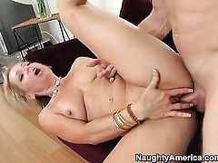 Blonde asian Kelly Leigh with phat ass and bald twat looking for a chance to get orgasm after hard asshole fucking
