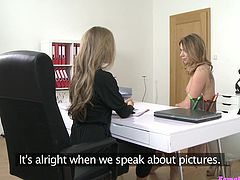 This model failed an interview, so she offered lesbian sex for job. She removed her bra, when boss came near, grabbed her small boobs, played with her nipples and squeezed them hardly. Whitney removed her clothes and rubbed her pussy, when her master started to lick her juicy cunt.