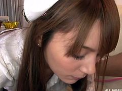 Cute and beautiful Japanese nurse drilled hard by her patient. She sucked her patient's dick very delicately and made him feel over the sky, then her patient did the same with her, by bombarding her with his huge dick.