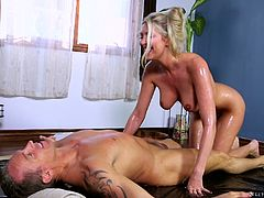 Milf massage porn with this big breasted blonde goddess