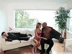 Tanner is a hot babe, who waits for her husband all day long, but when he comes, he is too tired to satisfy her needs. One day she calls her new neighbor for a nice fuck. She stars by giving head to that fat black cock near husband, who is taking a nap...