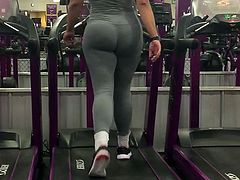 Gray Spandex On Treadmill