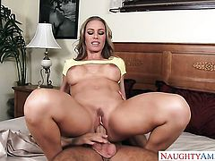 Blonde oriental seductress Nicole Aniston with round booty and trimmed muff is in need of sexual pleasure after tugjob