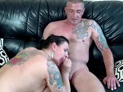 Tattooed German amateur fucking with her guy
