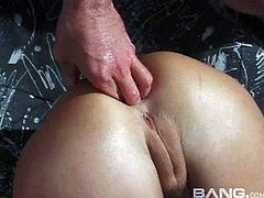 Whore gives a rimjob and gets fucked up the ass outdoors