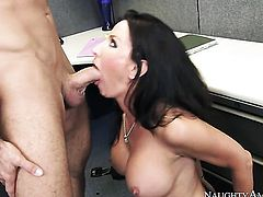 Brunette exotic Lezley Zen with massive breasts cant live a day without taking pop shot on her nice face