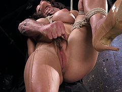 For the first time her hairy pussy suffered such strong stimulation. There were no strength to overcome the excitement, but her cruel master was not going to stop. Jets of pussy juice were running down her thighs, mouth was stuffed with a ball gag, muffling her screams. This time Raven received her strongest orgasm. Enjoy!