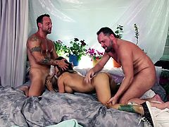 One monstrous cock is not enough to satisfy my sexual urge and without double penetration, I can't reach an orgasm. My fuck buddies Kurt Lockwood and Alec Knight, knew it and they always sandwich me, while fucking. One more hardcore threesome fucking session for your pleasure!!!