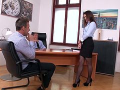 Visit official DP Fanatics's HomepageOffice babe with adorable forms seems quite pleased to deal these two males in a staggering session of rough anal threesome and blowjob