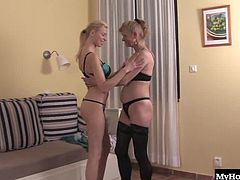 Sandra is an older blonde lady thats a full out lesbian. Playing around with women her own age doesnt interest her in the slightest, so she calls up the neighborhood pussy eater Lexiana, and the two have a passionate lesbian encounter right in Sandras living room where she raised her family.